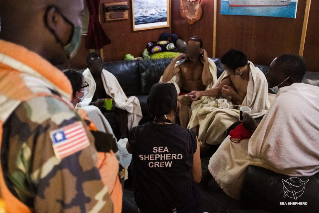 Sobreviventes a bordo do Sam Simon